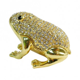 JF2914 Bedazzled Frog Collectible Trinket Jewelry Box 3.5 x 2 x 2.5 inches