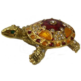 JF3049 Red and Gold Turtle Trinket Jewelry Box
