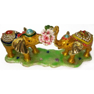 JF3128 Two Elephants with Flower Trinket Jewelry Box