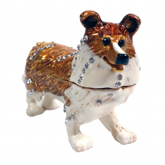 "JF3210 Colli Dog Trinket Jewelry Box  4"" x2.5"" x1"""