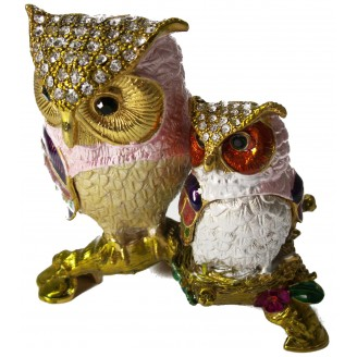 JF3383 Two Mutt. Color Owls  Trinket