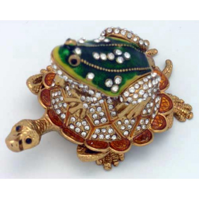 JF3384 Turtle with Frog Trinket Box