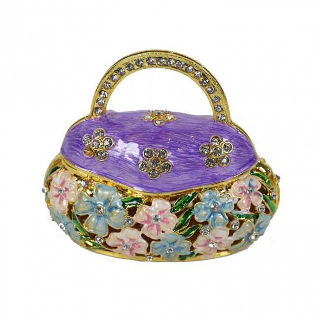 JF3473 Purple Hand Bag Trinket Box