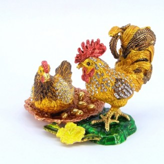 JF4006 Rooster& Hen with egg Trinket Box