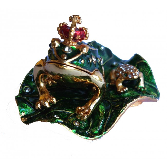 JF4382 Frog stand on leave Trinket Box