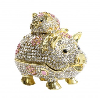 JF6009 PIG WITH BABY TRINKET BOX