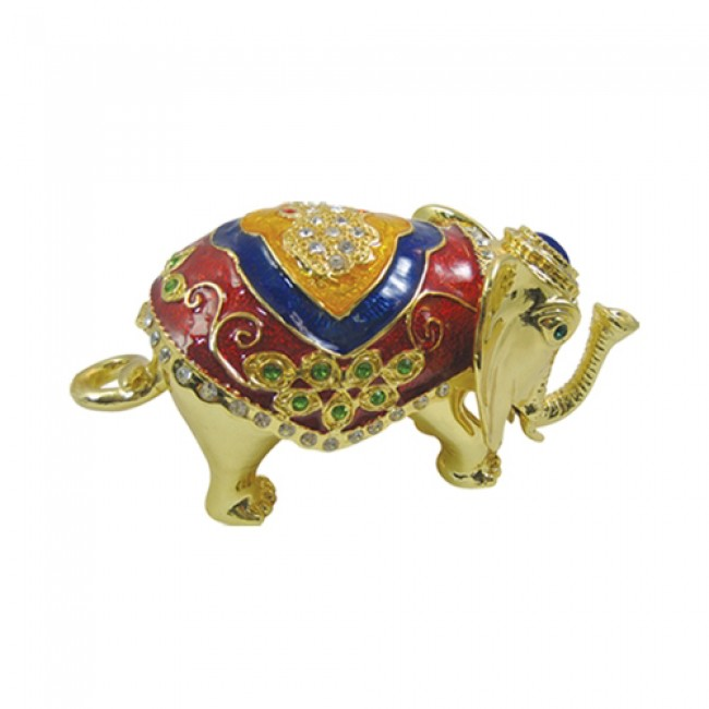 JF8009 Golden Elephant Trinket Box
