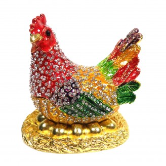 JF8021 RED  Rooster Trinket 3.5X4X4