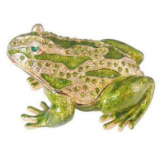 JF8659 Bedazzled Green Frog Collectible Trinket