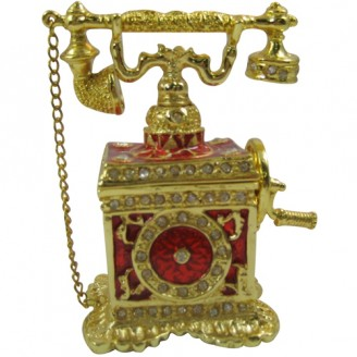 JF8774 Red Vintage Telephone  Trinket  4.5 x 2.6 x 3.5