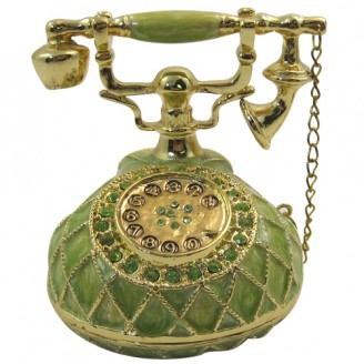JF8775 Green Vintage Telephone  Trinket  3.2x2.5x2.5