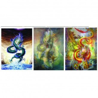 LED Lighted 3D Picture Frame - Dragon Triple Images