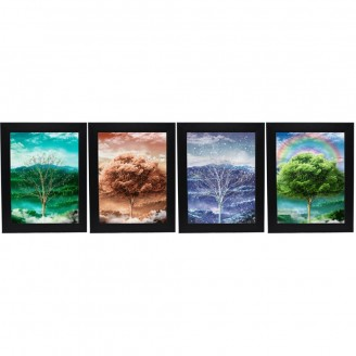 LED Lighted 3D Picture Frame - Four Season Tree Triple Images