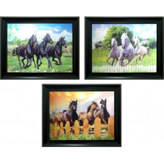 3D Lenticular picture w/ frame - Running Horses Triple Images
