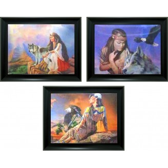 3D Lenticular picture w/ frame - Indian Lady with Wolf Triple Images