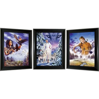 3D Lenticular picture w/ frame - Indian Maiden Triple Images