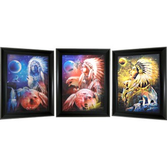 3D Lenticular picture w/ frame – Indian Hunter Triple Images