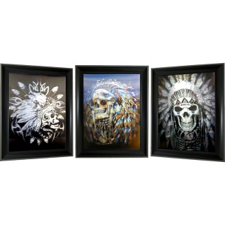 3D Lenticular picture w/ frame – Indian Skull Triple Images