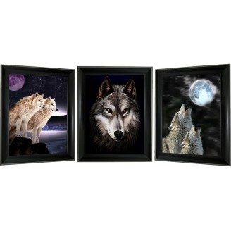 3D Lenticular picture w/ frame – Wolfe with moon Triple Images