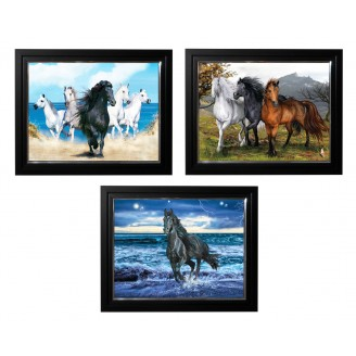 LED Lighted 3D Picture Frame -  Running Horses Triple Images