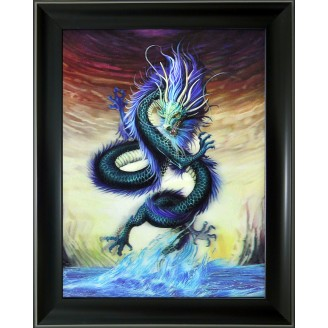 3D Lenticular picture w/ frame Green Dragon