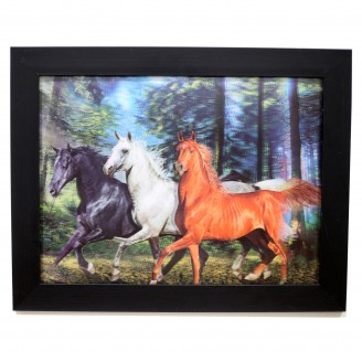3D Lenticular picture w/ frame Black white horse
