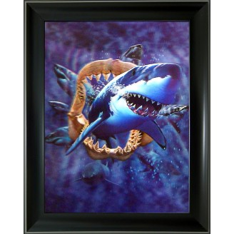 3D Lenticular picture w/ frame Jumping  Shark