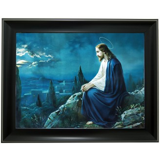 3D Lenticular picture w/ frame Jesus