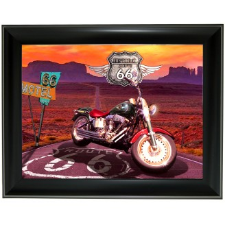 3D Lenticular picture w/ frame Harvey Davids on Montocycle Route 66