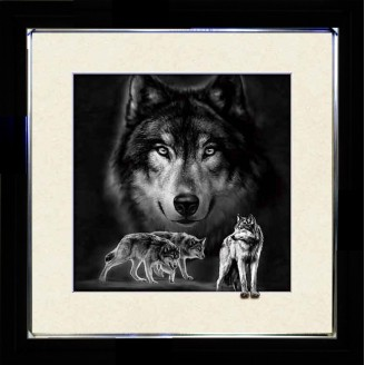 5D Lenticular picture w/ frame Wolves