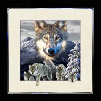 5D Lenticular picture w/ frame Snow Mountain Wolves