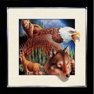 5D Lenticular picture w/ frame Wild Wolf