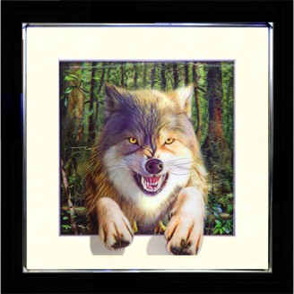 5D Lenticular picture w/ frame Wolf