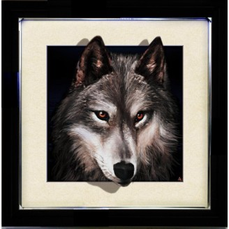 5D Lenticular picture w/ frame Wolf Head