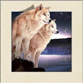 5D Lenticular picture w/ frame Snow Wolves