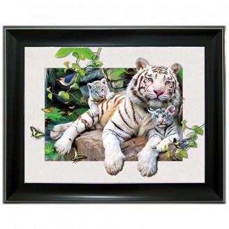 5D Lenticular picture w/ frame White Tiger